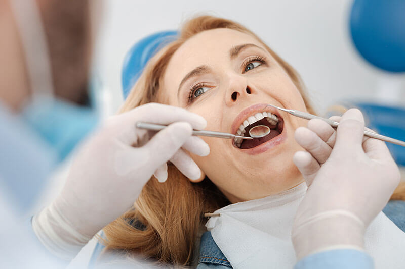 A patient getting a dental exam